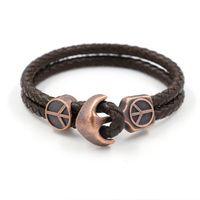anchor silver mark - Fashion New Pattern Anchor Genuine Leather Weave Bracelet Restore Ancient Ways Tide Male PU Leatherwear Peace Mark Bracelet Student Hand Orn