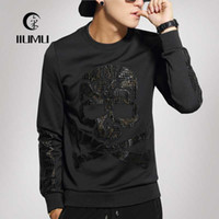 Wholesale Fall and winter clothes men s hooded outerwear Men s Fashion Set head Good quality Skull Youth Sweater