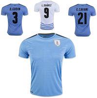 Wholesale 16 Soccer Uruguay Jersey National Team Customized Football Shirts Uniforms L SUAREZ GODIN CAVANI SILVA GONZALEZ COATES