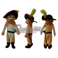 Cheap Wholesale-Puss in Boots Mascot Cartoon Cat Mascot Costume Custom Made For Birthday Halloween Party