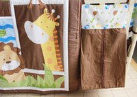 Wholesale Cot bedding set Embroidery Character Animal Baby bedding set Crib bedding set Qulit Bed around Fitted Bed skirt Urine bag