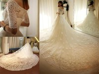 Wholesale 2016 Luxury Wedding Dresses White Lace Half Long Sleeve Off The Shoulder A Line Applique Zipper Cathedral Train Bridal Gowns Custom Made DG