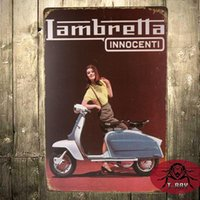 Wholesale Metal signs vintage Retro Shabby chic Lambretta scooter Tin sign wall plaque C