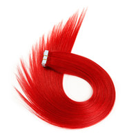 acid red dye - Top quality red g Skin Weft PU European hair Tape in real Human Hair extensions inch Brazilian Indian hair extension