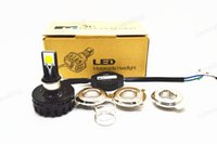 Wholesale WHITE amber W COB Motorcycle LED Headlight Motorbike headlamp LED Hi Low beam moto Conversion Kit H6 H4 kit led