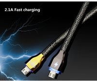 Wholesale New Fashion LED Intelligent light control Data Sync usb cable For Samsung Braided Cord Micro usb Cabel For Android mobile phones
