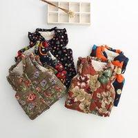 Wholesale 2016 autumn winter vest kids fashion high grade flower print baby girls vest cute girls waistcoat y children vest tj60
