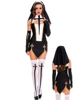 Wholesale Sexy Nun Costume Adult Women Cosplay Dress With Black Hood For Halloween Sister Cosplay Party Costume