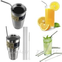 stainless steel straws - YETI oz Cups Drinking Straw Stainless Steel Travel Mugs Sucker Straws Brush Set Cleaning Beer Juice Straws For Yeti Rambler Cups