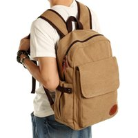 Wholesale Neutral male female canvas leisure time Sports Cool style Backpack zipper Retro printing Thick cotton canvas