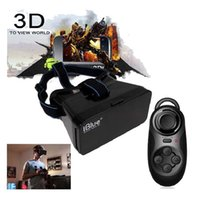 Wholesale Google D VR glasses Virtual Reality iblue illusion Mask D VR BOX Google cardboard with bluetooth controller Mouse Gamepad For iphone s