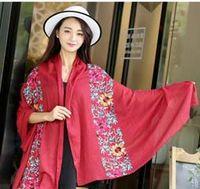 art silk scarf - Embroidered silk scarf ladies cotton scarves fashion art shawl