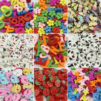 Wholesale Lovely Wood Wooden Buttons Beads Scrapbook Craft Clothing Sewing Button Y102