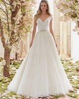 Precio de Líneas blancas-El lvory blanco caliente de la manera de la venta Appliques el Organza A de los cristales - alinee los vestidos de boda El V-Cuello moldeó el tamaño de encargo de los corazones