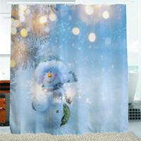 Эко украшения RU-2016 Водонепроницаемый рождественские фейерверки Снеговик полиэстер душевой занавес ванны для купания Sheer занавес для дома Магазин Школа украшения