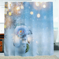 Wholesale 2016 Waterproof Christmas Fireworks Snowman Polyester Shower Curtain Bath Bathing Sheer Curtain for Home Store School Decorations