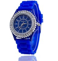 Unisex ebay - 20PCS ebay GENEVA fashion silicone watch diamond quartz watch DHL free hair a variety of colors