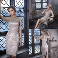 Wholesale 2016 Fashion Silver Sheath Mother Dresses Cap Sleeves Knee Length Sheer Jewel Neck Mother Of The Bride Gowns Party Dresses with Back Split