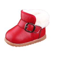 baby platform boots - 0 Y Winter Baby Snow Boots Children s Cow Muscle Boots Baby Genuine Leather Flat with Platform shoes Boys Hook Loop Warm Plush