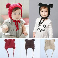 Wholesale Newborn baby winter cap Mickey Ear hats kids knited caps fashion girls knit hair accessories toddler bonnet photography hats