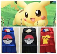 Wholesale Kids Poke double layer cape children Pikachu Elf Ball printing Cosplay capes Halloween Party Costumes cm KKA605