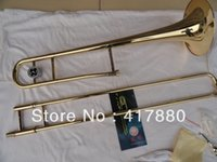 Wholesale Drop B Adjustable Alto Trombone Professional Golden Brown Tenor Trombone Brass Instrument with Mouthpiece and Nylon Bag