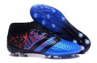 Wholesale 16 Paris Pack Ace Purecontrol Soccer Shoes Blue and Black Football Cleats Soccer Boots Cheap Original Men Size