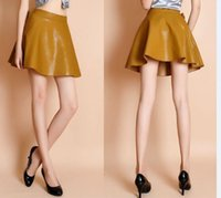 Wholesale Autumn Winter Skirts Womens PU Leather Mini Skirt Plus Size Big Size XL High Waisted Flared Pleated Skater Skirt