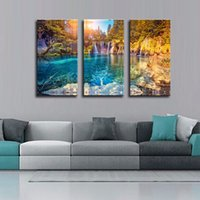 beam pictures - LK347 Panel Turquoise Water and Sunny Beams in Plitvice Lakes National Park Croatia Wall Art Mordern Pictures Print On Canvas Paintings