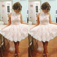 baby missing - 2016 Lovely Lace Appliques Homecoming Dresses Baby Pink Mini Lace Ruffle Skirts Short Cocktail Dresses Prom Gowns