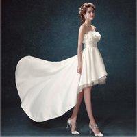 Wholesale Strapless Design Handmade Flower High Low Wedding Dress Attractive Corset Back robe de mariage Free Custom Made