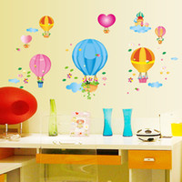 Wholesale Self adhesive PVC wall stickers can remove sitting room children bedroom background adornment cute cartoon balloon stickers