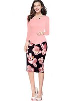 Wholesale 5XL Sheath Long Sleeve Polyester Print Autumn Stain Woman Dress Plus Size Business Work Office Pencil Bodycon Dresses Robe Sexy FS0388
