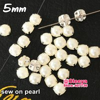 Wholesale mm White Sew On Half Round Pearl with Silver Claw Loose Sewing Beads For Wedding Dress Decoration Y3542
