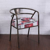 Iron bar dining chairs - New Metal Cushion Dining Chiars Hot selling Antique Leather High Quality Factory Price Bar Chairs