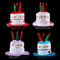 amusement park supplies - children Birthday Cake Candle Hat Short Plush Children colors For Party Amusement Park Supplies Performing Dress Props