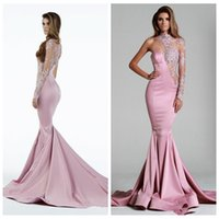beautiful evening dresses online - O Neck Sheer Long Sleeves Lace Appliques Beading Sequined Beautiful Evening Dresses Natural Slim Custom Online Satin Prom Party Gowns