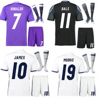 Wholesale 16 RONALDO BALE BENZEMA the full set soccer jersey with socks home white away football jersey with socks