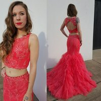 apple bottom models - Hot Pink Prom Dresses Two Pieces Lace Applique Beading Formal Mermaid Evening Gowns Backless Party Dresses Jewel Neck Ruffle Bottom