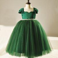 austria images - CHENLVXIE New Green Pearl Girls Pageant Dress Austria Diamond Sleeveless Festival Flower Girls Dress Girl Birthday Dress