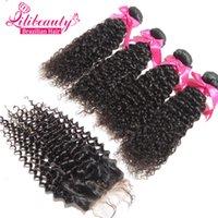 profunda del pelo virginal brasileño rizado con cierre de 4 paquetes y profundo de la onda del pelo virginal brasileño con el cierre 7A cabello humano cierre