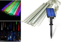 bar string lights - RGB Tubes Solar String Light LEDs Falling Rain Drop Meteor Shower RGB String Light Bars Solar Lamp Xmas Tree Decor Garden Light