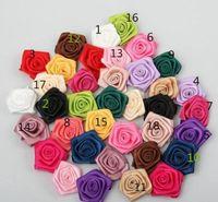 Wholesale 100pcs mm mm Handmade satin flowers ribbon rose DIY decoration mix color
