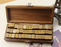 Wholesale set set Alphabet stamp Creative letters and numbers stamp gift box wooden stamp wooden box