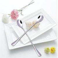 Wholesale Practical Stainless Steel Seasoning ladle Spoon Long Teaspoon Dessert Drink Stir Coffee Set of