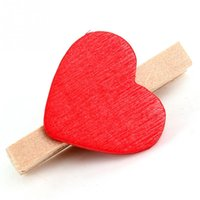 Wholesale 2016 Hot Sale New Mini Heart Love Wooden Clothespin Craft Clips Wooden Letters For Decorations Summer Style Wedding Decoration pc