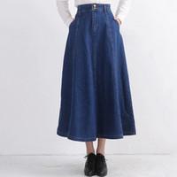 Falda larga plisada caliente Saia de la falda del dril de algodón de las mujeres de la falda del dril de algodón de las señoras de la cintura alta de la falda toda de la falda todo-fósforo largo XA0302