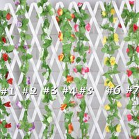 beautiful canes - High grade Fabric Simulation Flowers Rattan Cane Hanging A Beautiful Double Rose Flower New
