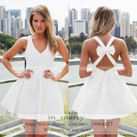 Wholesale Cheap White Short Sexy Homecoming Dresses A Line V Neck Criss Cross Back Bow Plus Size Mini Simple Sweet Prom Gowns