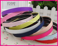 assorted material hair - 20PCS mm Assorted Colors Grosgrain Ribbon Lined Black Plain Plastic Hair Headbands with teeth at eco friendly material